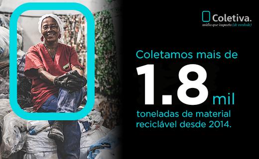 COLETAMOS MAIS DE 1.8 MIL TONELADAS DE MATERIAL RECICLÁVEL DESDE 2014